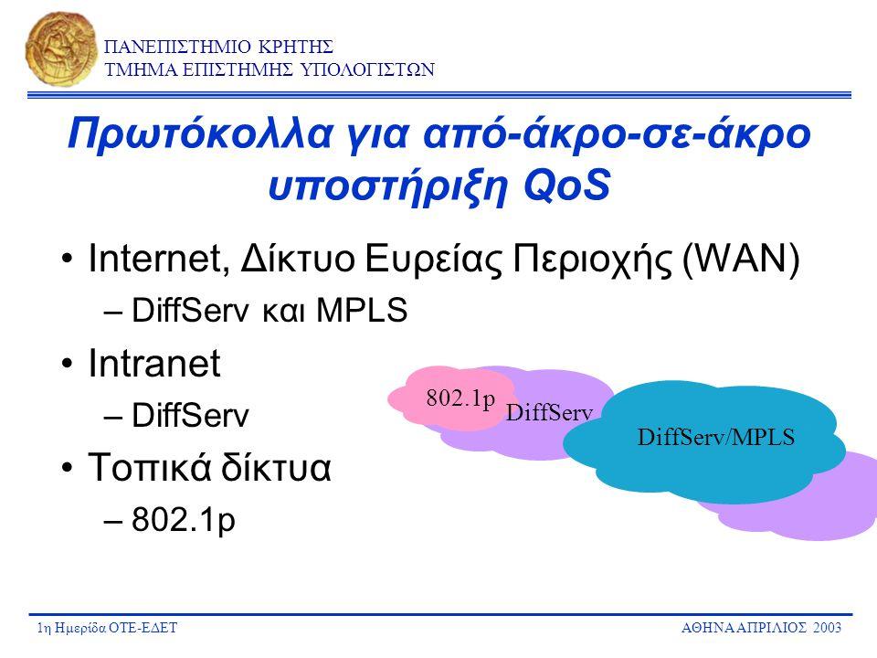 1η Ημερίδα ΟΤΕ-ΕΔΕΤΑΘΗΝΑ ΑΠΡΙΛΙΟΣ 2003 ΠΑΝΕΠΙΣΤΗΜΙΟ ΚΡΗΤΗΣ ΤΜΗΜΑ ΕΠΙΣΤΗΜΗΣ ΥΠΟΛΟΓΙΣΤΩΝ Πρωτόκολλα για από-άκρο-σε-άκρο υποστήριξη QoS Internet, Δίκτυο