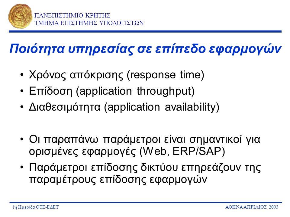 1η Ημερίδα ΟΤΕ-ΕΔΕΤΑΘΗΝΑ ΑΠΡΙΛΙΟΣ 2003 ΠΑΝΕΠΙΣΤΗΜΙΟ ΚΡΗΤΗΣ ΤΜΗΜΑ ΕΠΙΣΤΗΜΗΣ ΥΠΟΛΟΓΙΣΤΩΝ Ποιότητα υπηρεσίας σε επίπεδο εφαρμογών Χρόνος απόκρισης (respo