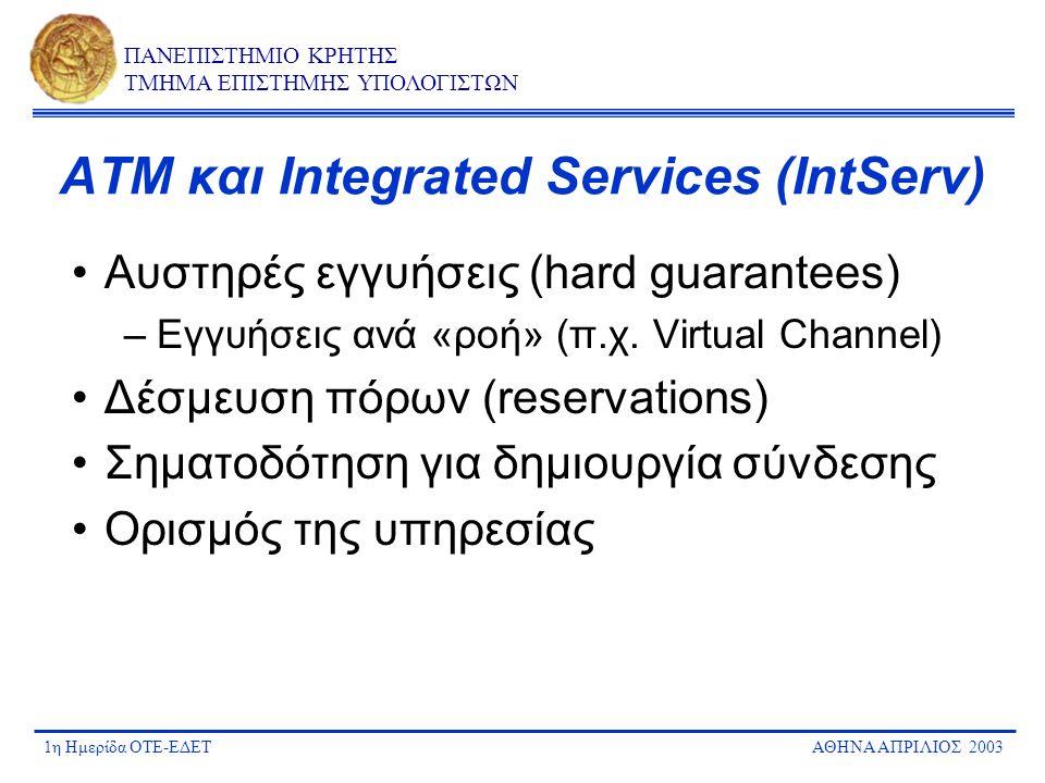 1η Ημερίδα ΟΤΕ-ΕΔΕΤΑΘΗΝΑ ΑΠΡΙΛΙΟΣ 2003 ΠΑΝΕΠΙΣΤΗΜΙΟ ΚΡΗΤΗΣ ΤΜΗΜΑ ΕΠΙΣΤΗΜΗΣ ΥΠΟΛΟΓΙΣΤΩΝ Γιατί DiffServ; Απαλές (soft) και σχετικές (relative) εγγυήσεις Προτεραιότητες (priorities) & μηχανισμοί queueing Εγγυήσεις ανά σύνολο ροών (aggregates) –Δεν υπάρχει ανάγκη σηματοδότησης –Επεκτασιμότητα (scalability) –Κλάσεις (classes)