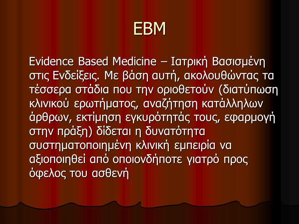 ΕΒΜ Evidence Based Medicine – Ιατρική Βασισμένη στις Ενδείξεις. Με βάση αυτή, ακολουθώντας τα τέσσερα στάδια που την οριοθετούν (διατύπωση κλινικού ερ
