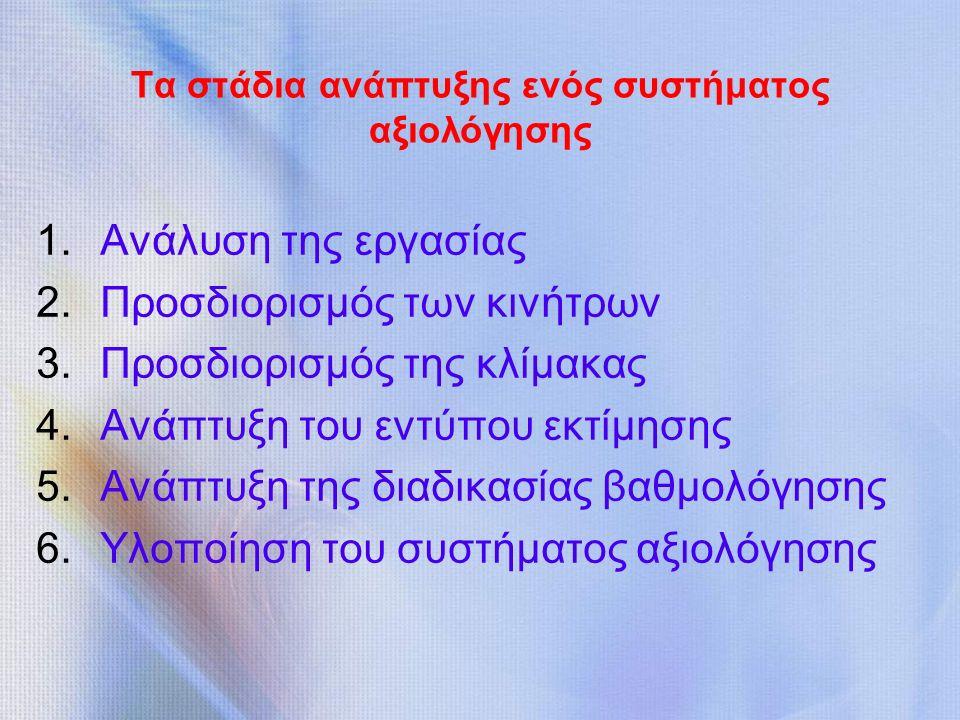 Τα στάδια ανάπτυξης ενός συστήματος αξιολόγησης 1.Ανάλυση της εργασίας 2.Προσδιορισμός των κινήτρων 3.Προσδιορισμός της κλίμακας 4.Ανάπτυξη του εντύπου εκτίμησης 5.Ανάπτυξη της διαδικασίας βαθμολόγησης 6.Υλοποίηση του συστήματος αξιολόγησης