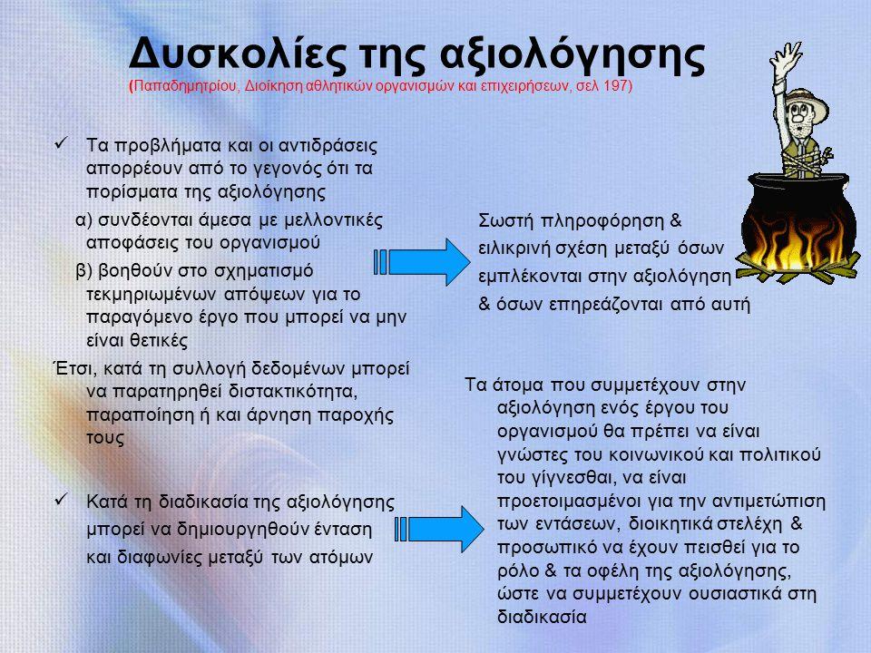 Δυσκολίες της αξιολόγησης (Παπαδημητρίου, Διοίκηση αθλητικών οργανισμών και επιχειρήσεων, σελ 197) Τα προβλήματα και οι αντιδράσεις απορρέουν από το γεγονός ότι τα πορίσματα της αξιολόγησης α) συνδέονται άμεσα με μελλοντικές αποφάσεις του οργανισμού β) βοηθούν στο σχηματισμό τεκμηριωμένων απόψεων για το παραγόμενο έργο που μπορεί να μην είναι θετικές Έτσι, κατά τη συλλογή δεδομένων μπορεί να παρατηρηθεί διστακτικότητα, παραποίηση ή και άρνηση παροχής τους Σωστή πληροφόρηση & ειλικρινή σχέση μεταξύ όσων εμπλέκονται στην αξιολόγηση & όσων επηρεάζονται από αυτή Κατά τη διαδικασία της αξιολόγησης μπορεί να δημιουργηθούν ένταση και διαφωνίες μεταξύ των ατόμων Τα άτομα που συμμετέχουν στην αξιολόγηση ενός έργου του οργανισμού θα πρέπει να είναι γνώστες του κοινωνικού και πολιτικού του γίγνεσθαι, να είναι προετοιμασμένοι για την αντιμετώπιση των εντάσεων, διοικητικά στελέχη & προσωπικό να έχουν πεισθεί για το ρόλο & τα οφέλη της αξιολόγησης, ώστε να συμμετέχουν ουσιαστικά στη διαδικασία