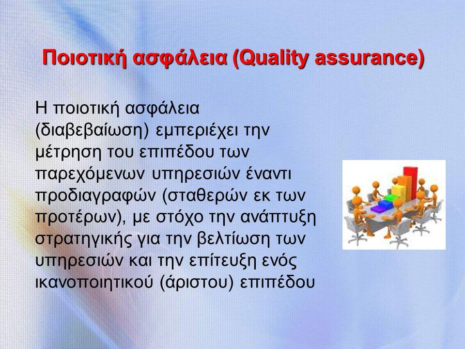 Ποιοτική ασφάλεια (Quality assurance) Η ποιοτική ασφάλεια (διαβεβαίωση) εμπεριέχει την μέτρηση του επιπέδου των παρεχόμενων υπηρεσιών έναντι προδιαγραφών (σταθερών εκ των προτέρων), με στόχο την ανάπτυξη στρατηγικής για την βελτίωση των υπηρεσιών και την επίτευξη ενός ικανοποιητικού (άριστου) επιπέδου