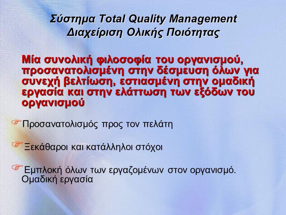 Σύστημα Total Quality Management Διαχείριση Ολικής Ποιότητας Μία συνολική φιλοσοφία του οργανισμού, προσανατολισμένη στην δέσμευση όλων για συνεχή βελτίωση, εστιασμένη στην ομαδική εργασία και στην ελάττωση των εξόδων του οργανισμού F Προσανατολισμός προς τον πελάτη F Ξεκάθαροι και κατάλληλοι στόχοι F Εμπλοκή όλων των εργαζομένων στον οργανισμό.