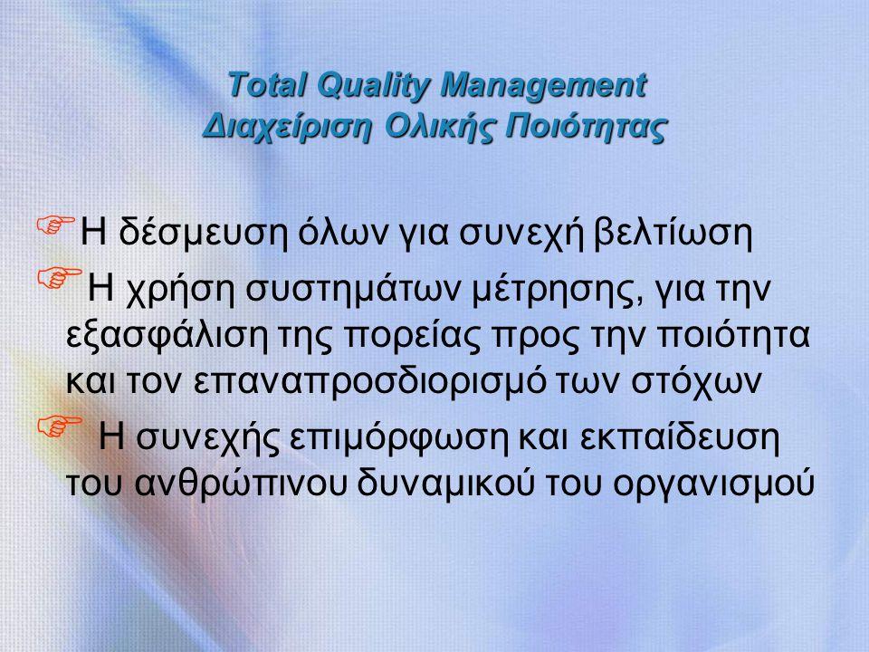 Total Quality Management Διαχείριση Ολικής Ποιότητας F Η δέσμευση όλων για συνεχή βελτίωση F Η χρήση συστημάτων μέτρησης, για την εξασφάλιση της πορείας προς την ποιότητα και τον επαναπροσδιορισμό των στόχων F Η συνεχής επιμόρφωση και εκπαίδευση του ανθρώπινου δυναμικού του οργανισμού