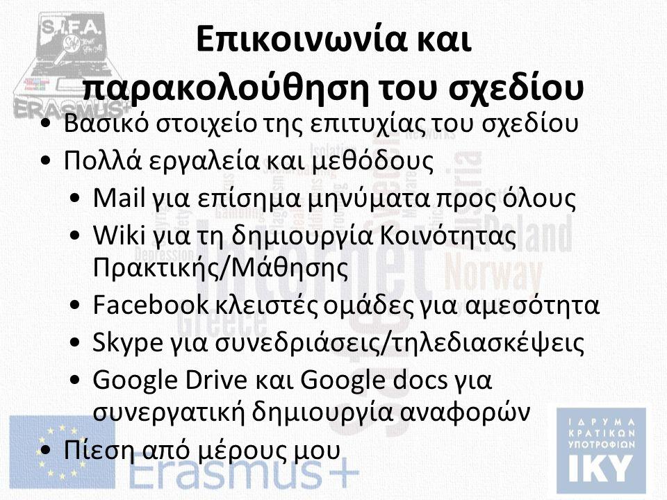 Επικοινωνία και παρακολούθηση του σχεδίου Βασικό στοιχείο της επιτυχίας του σχεδίου Πολλά εργαλεία και μεθόδους Mail για επίσημα μηνύματα προς όλους Wiki για τη δημιουργία Κοινότητας Πρακτικής/Μάθησης Facebook κλειστές ομάδες για αμεσότητα Skype για συνεδριάσεις/τηλεδιασκέψεις Google Drive και Google docs για συνεργατική δημιουργία αναφορών Πίεση από μέρους μου