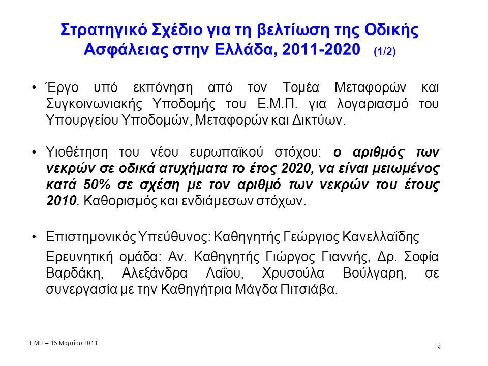 Στρατηγικό Σχέδιο για τη βελτίωση της Οδικής Ασφάλειας στην Ελλάδα, 2011-2020 (1/2) Έργο υπό εκπόνηση από τον Τομέα Μεταφορών και Συγκοινωνιακής Υποδομής του Ε.Μ.Π.