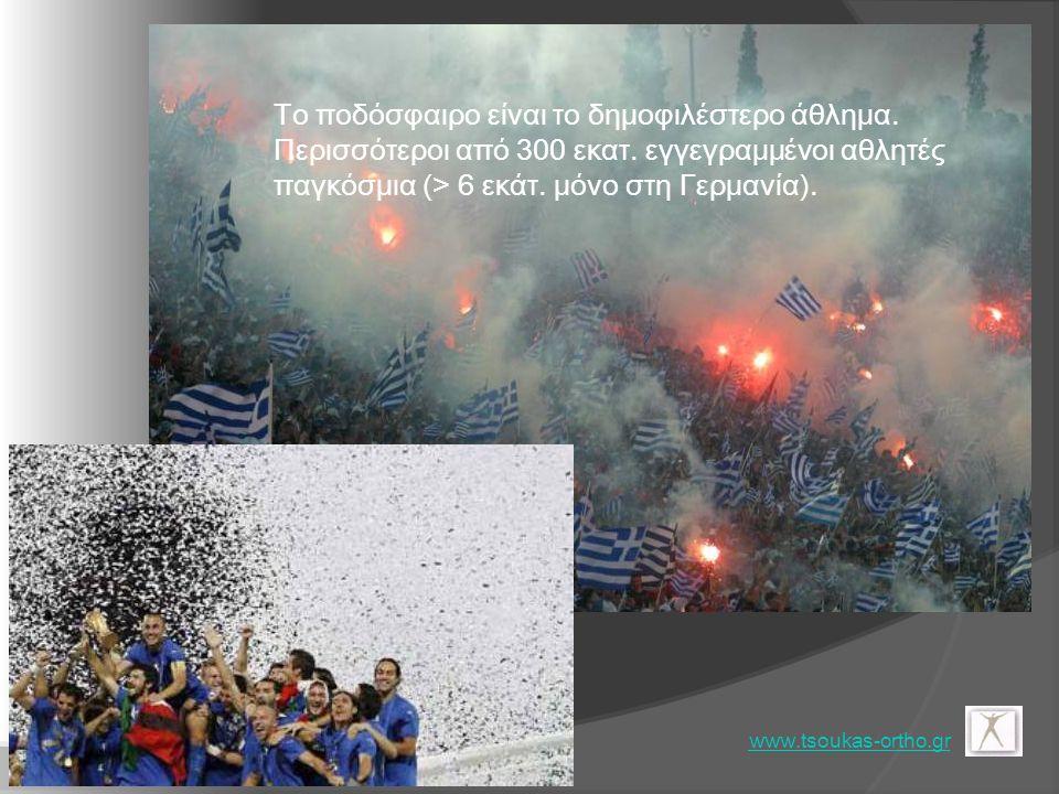 www.tsoukas-ortho.gr Το ποδόσφαιρο είναι το δημοφιλέστερο άθλημα. Περισσότεροι από 300 εκατ. εγγεγραμμένοι αθλητές παγκόσμια (> 6 εκάτ. μόνο στη Γερμα