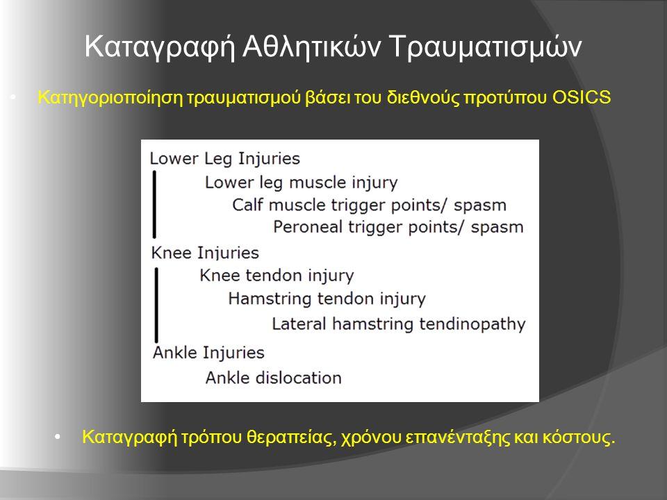Καταγραφή Αθλητικών Τραυματισμών Κατηγοριοποίηση τραυματισμού βάσει του διεθνούς προτύπου OSICS Καταγραφή τρόπου θεραπείας, χρόνου επανένταξης και κόστους.