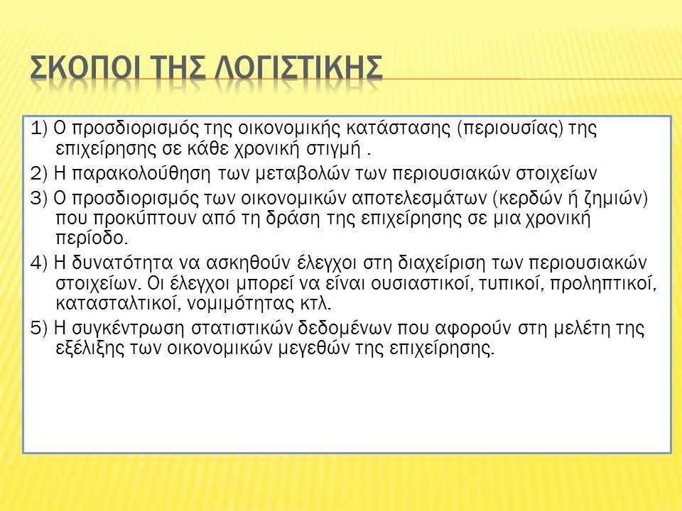1) Ο προσδιορισμός της οικονομικής κατάστασης (περιουσίας) της επιχείρησης σε κάθε χρονική στιγμή. 2) Η παρακολούθηση των μεταβολών των περιουσιακών σ
