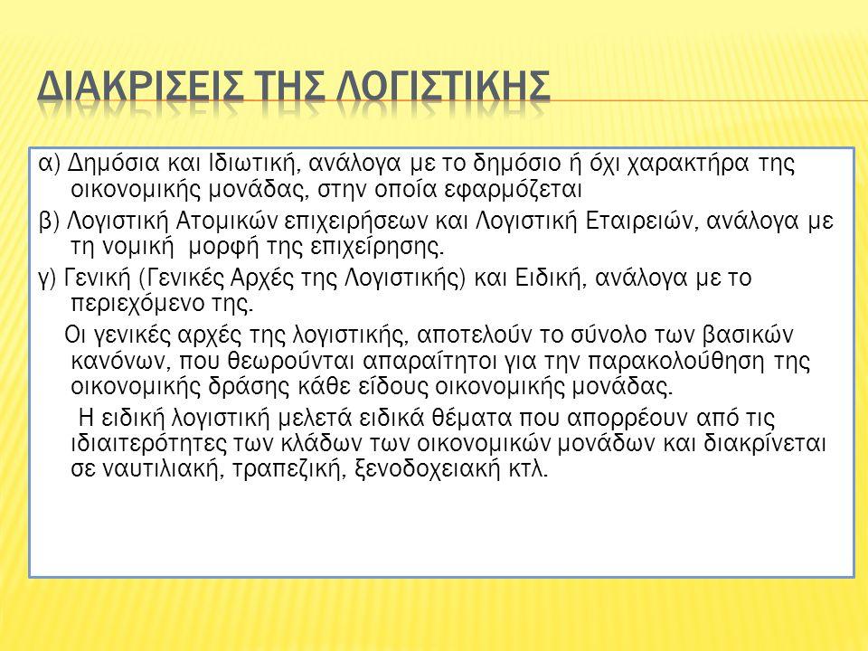 α) Δημόσια και Ιδιωτική, ανάλογα με το δημόσιο ή όχι χαρακτήρα της οικονομικής μονάδας, στην οποία εφαρμόζεται β) Λογιστική Ατομικών επιχειρήσεων και