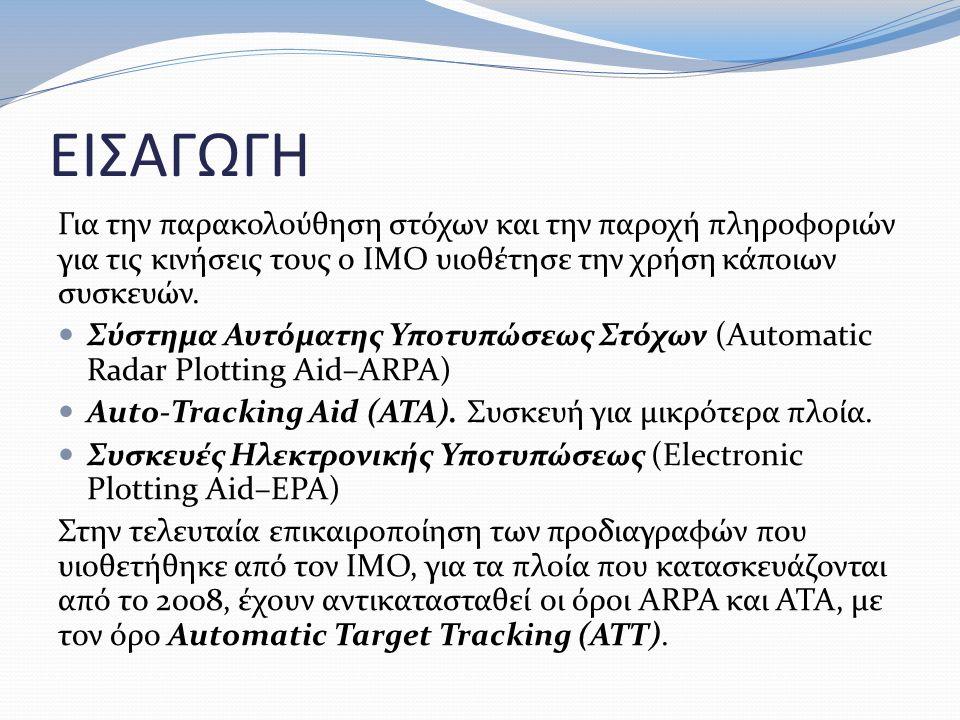ΕΙΣΑΓΩΓΗ Για την παρακολούθηση στόχων και την παροχή πληροφοριών για τις κινήσεις τους ο ΙΜΟ υιοθέτησε την χρήση κάποιων συσκευών. Σύστημα Αυτόματης Υ