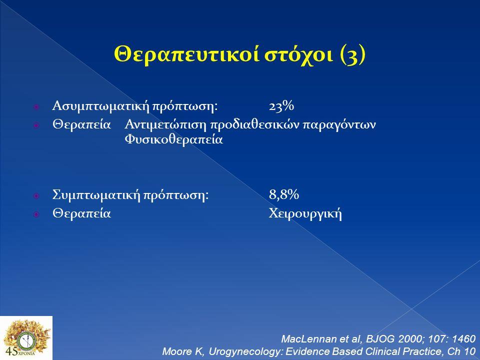 Θεραπευτικοί στόχοι (3)  Ασυμπτωματική πρόπτωση:23%  ΘεραπείαΑντιμετώπιση προδιαθεσικών παραγόντων Φυσικοθεραπεία  Συμπτωματική πρόπτωση:8,8%  ΘεραπείαΧειρουργική MacLennan et al, BJOG 2000; 107: 1460 Moore K, Urogynecology: Evidence Based Clinical Practice, Ch 10