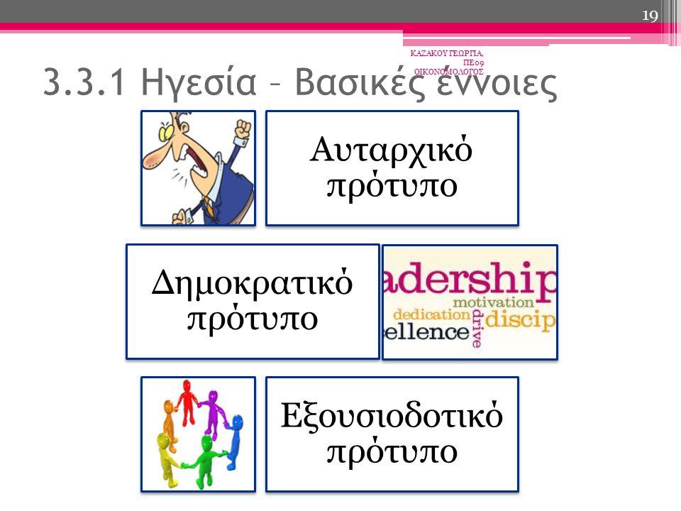 Αυταρχικό πρότυπο Δημοκρατικό πρότυπο Εξουσιοδοτικό πρότυπο 3.3.1 Ηγεσία – Βασικές έννοιες ΚΑΖΑΚΟΥ ΓΕΩΡΓΙΑ, ΠΕ09 ΟΙΚΟΝΟΜΟΛΟΓΟΣ 19