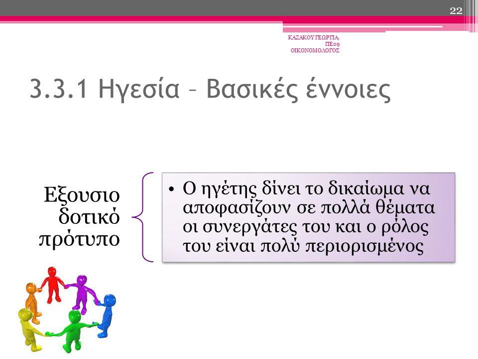 Εξουσιο δοτικό πρότυπο Ο ηγέτης δίνει το δικαίωμα να αποφασίζουν σε πολλά θέματα οι συνεργάτες του και ο ρόλος του είναι πολύ περιορισμένος 3.3.1 Ηγεσία – Βασικές έννοιες ΚΑΖΑΚΟΥ ΓΕΩΡΓΙΑ, ΠΕ09 ΟΙΚΟΝΟΜΟΛΟΓΟΣ 22