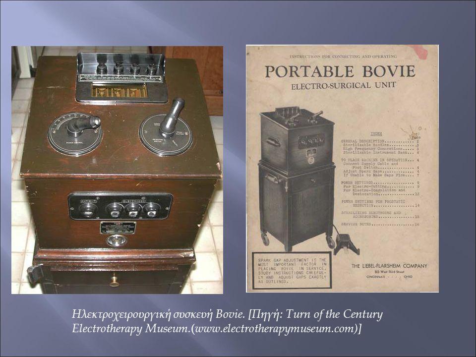 Ηλεκτροχειρουργική συσκευή Bovie. [Πηγή: Turn of the Century Electrotherapy Museum. ( www.electrotherapymuseum.com)]