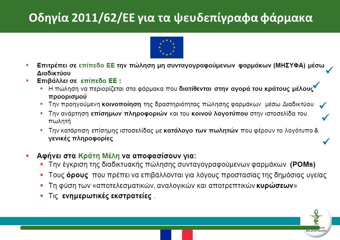  Επιτρέπει σε επίπεδο ΕΕ την πώληση μη συνταγογραφούμενων φαρμάκων (ΜΗΣΥΦΑ) μέσω Διαδικτύου  Επιβάλλει σε επίπεδο ΕΕ :  Η πώληση να περιορίζεται στα φάρμακα που διατίθενται στην αγορά του κράτους μέλους προορισμού  Την προηγούμενη κοινοποίηση της δραστηριότητας πώλησης φαρμάκων μέσω Διαδικτύου  Την ανάρτηση επίσημων πληροφοριών και του κοινού λογοτύπου στην ιστοσελίδα του πωλητή  Την κατάρτιση επίσημης ιστοσελίδας με κατάλογο των πωλητών που φέρουν το λογότυπο & γενικές πληροφορίες  Αφήνει στα Κράτη Μέλη να αποφασίσουν για:  Την έγκριση της διαδικτυακής πώλησης συνταγογραφούμενων φαρμάκων (POMs)  Τους όρους που πρέπει να επιβάλλονται για λόγους προστασίας της δημόσιας υγείας  Τη φύση των «αποτελεσματικών, αναλογικών και αποτρεπτικών κυρώσεων»  Τις ενημερωτικές εκστρατείες.