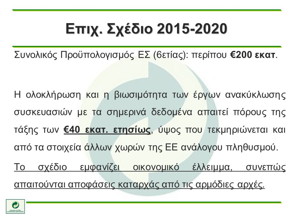 Συνολικός Προϋπολογισμός ΕΣ (6ετίας): περίπου €200 εκατ.