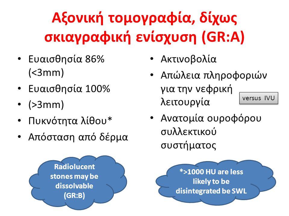 Αξονική τομογραφία, δίχως σκιαγραφική ενίσχυση (GR:A) Ευαισθησία 86% (<3mm) Ευαισθησία 100% (>3mm) Πυκνότητα λίθου* Απόσταση από δέρμα Ακτινοβολία Απώλεια πληροφοριών για την νεφρική λειτουργία Ανατομία ουροφόρου συλλεκτικού συστήματος versus IVU Radiolucent stones may be dissolvable (GR:B) *>1000 HU are less likely to be disintegrated be SWL