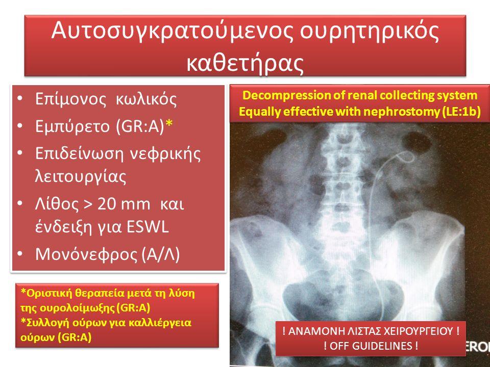 Αυτοσυγκρατούμενος ουρητηρικός καθετήρας Επίμονος κωλικός Εμπύρετο (GR:A)* Επιδείνωση νεφρικής λειτουργίας Λίθος > 20 mm και ένδειξη για ESWL Mονόνεφρος (Α/Λ) Επίμονος κωλικός Εμπύρετο (GR:A)* Επιδείνωση νεφρικής λειτουργίας Λίθος > 20 mm και ένδειξη για ESWL Mονόνεφρος (Α/Λ) Decompression of renal collecting system Equally effective with nephrostomy (LE:1b) Decompression of renal collecting system Equally effective with nephrostomy (LE:1b) *Οριστική θεραπεία μετά τη λύση της ουρολοίμωξης (GR:A) *Συλλογή ούρων για καλλιέργεια ούρων (GR:A) *Οριστική θεραπεία μετά τη λύση της ουρολοίμωξης (GR:A) *Συλλογή ούρων για καλλιέργεια ούρων (GR:A) .