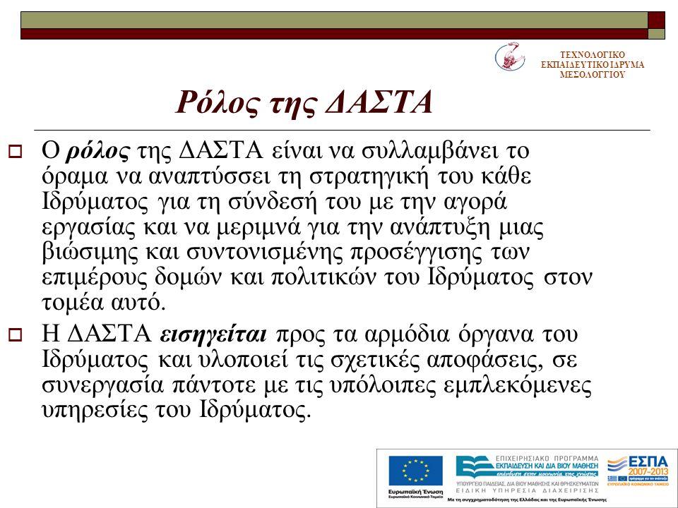 Ρόλος της ΔΑΣΤΑ  Ο ρόλος της ΔΑΣΤΑ είναι να συλλαμβάνει το όραμα να αναπτύσσει τη στρατηγική του κάθε Ιδρύματος για τη σύνδεσή του με την αγορά εργασίας και να μεριμνά για την ανάπτυξη μιας βιώσιμης και συντονισμένης προσέγγισης των επιμέρους δομών και πολιτικών του Ιδρύματος στον τομέα αυτό.