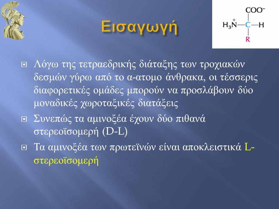  Λόγω της τετραεδρικής διάταξης των τροχιακών δεσμών γύρω από το α - ατομο άνθρακα, οι τέσσερις διαφορετικές ομάδες μπορούν να προσλάβουν δύο μοναδικ