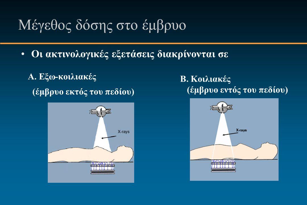 Μέγεθος δόσης στο έμβρυο Οι ακτινολογικές εξετάσεις διακρίνονται σε A.