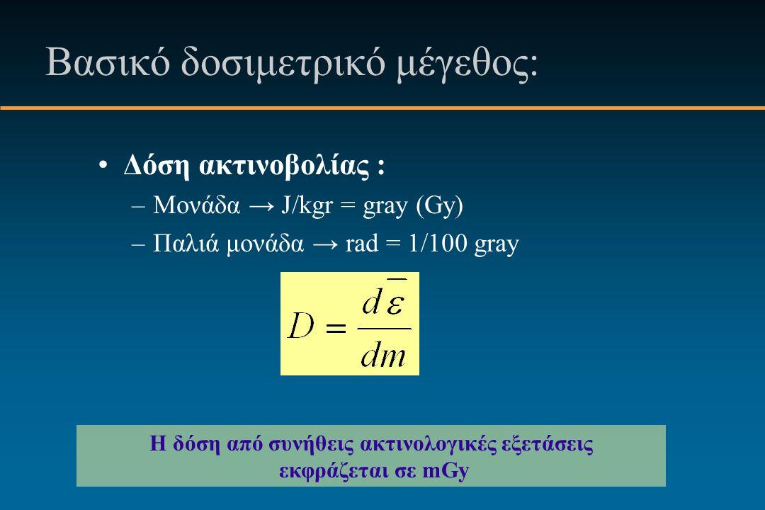 Βασικό δοσιμετρικό μέγεθος: Δόση ακτινοβολίας : –Μονάδα → J/kgr = gray (Gy) –Παλιά μονάδα → rad = 1/100 gray Η δόση από συνήθεις ακτινολογικές εξετάσεις εκφράζεται σε mGy