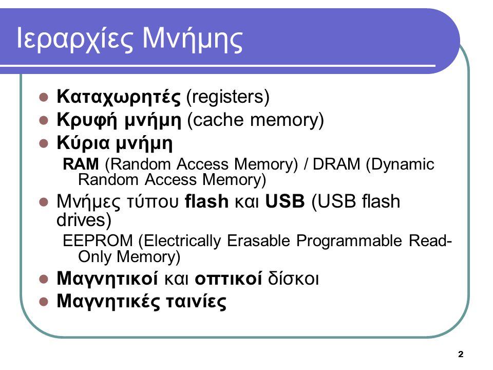 2 Ιεραρχίες Μνήμης Καταχωρητές (registers) Κρυφή μνήμη (cache memory) Κύρια μνήμη RAM (Random Access Memory) / DRAM (Dynamic Random Access Memory) Μνήμες τύπου flash και USB (USB flash drives) EEPROM (Electrically Erasable Programmable Read- Only Memory) Μαγνητικοί και οπτικοί δίσκοι Μαγνητικές ταινίες
