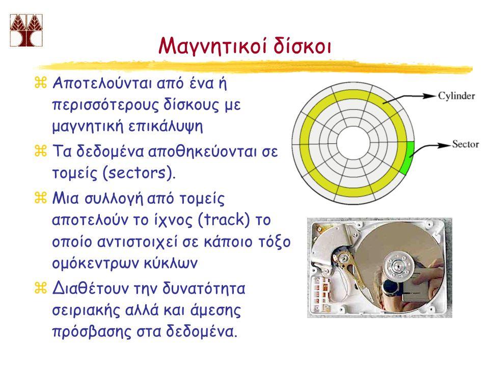 Μαγνητικοί δίσκοι zΑποτελούνται από ένα ή περισσότερους δίσκους με μαγνητική επικάλυψη zΤα δεδομένα αποθηκεύονται σε τομείς (sectors). zΜια συλλογή απ