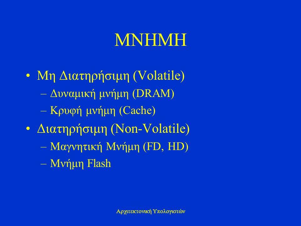 Αρχιτεκτονική Υπολογιστών ΜΝΗΜΗ Μη Διατηρήσιμη (Volatile) –Δυναμική μνήμη (DRAM) –Κρυφή μνήμη (Cache) Διατηρήσιμη (Non-Volatile) –Μαγνητική Μνήμη (FD,