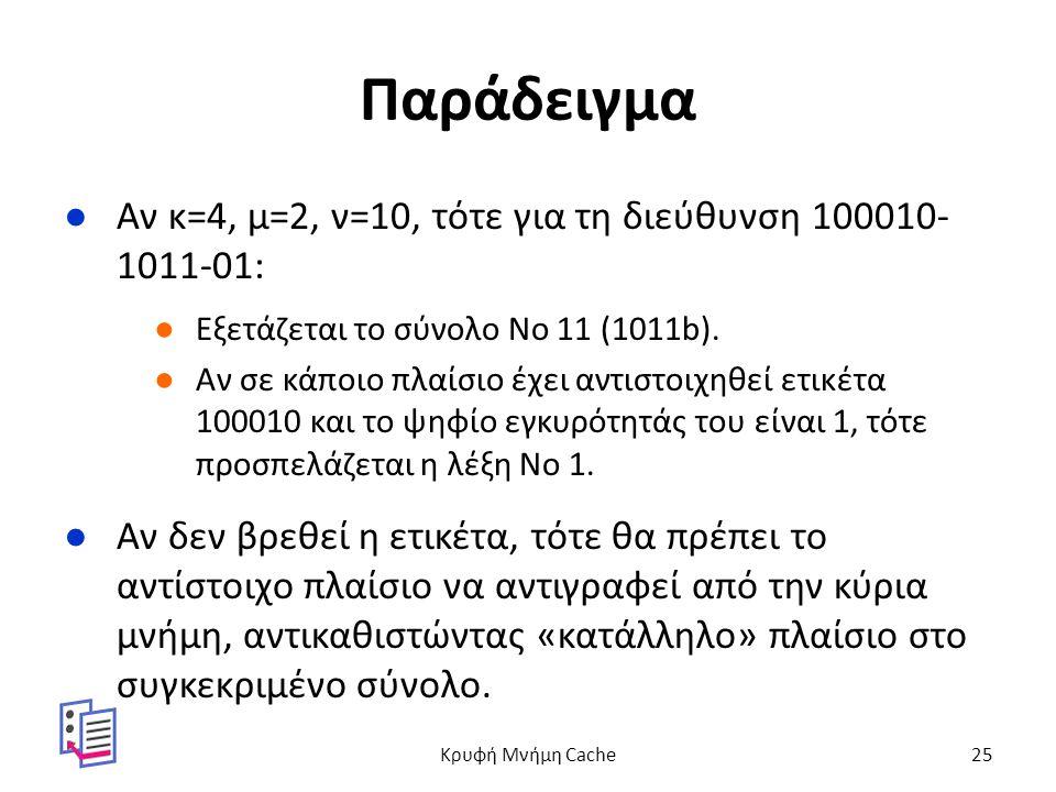 Παράδειγμα ●Αν κ=4, μ=2, ν=10, τότε για τη διεύθυνση 100010- 1011-01: ●Εξετάζεται το σύνολο No 11 (1011b).