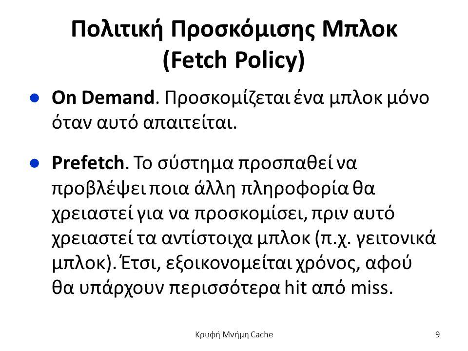 Πολιτική Προσκόμισης Μπλοκ (Fetch Policy) ●On Demand.