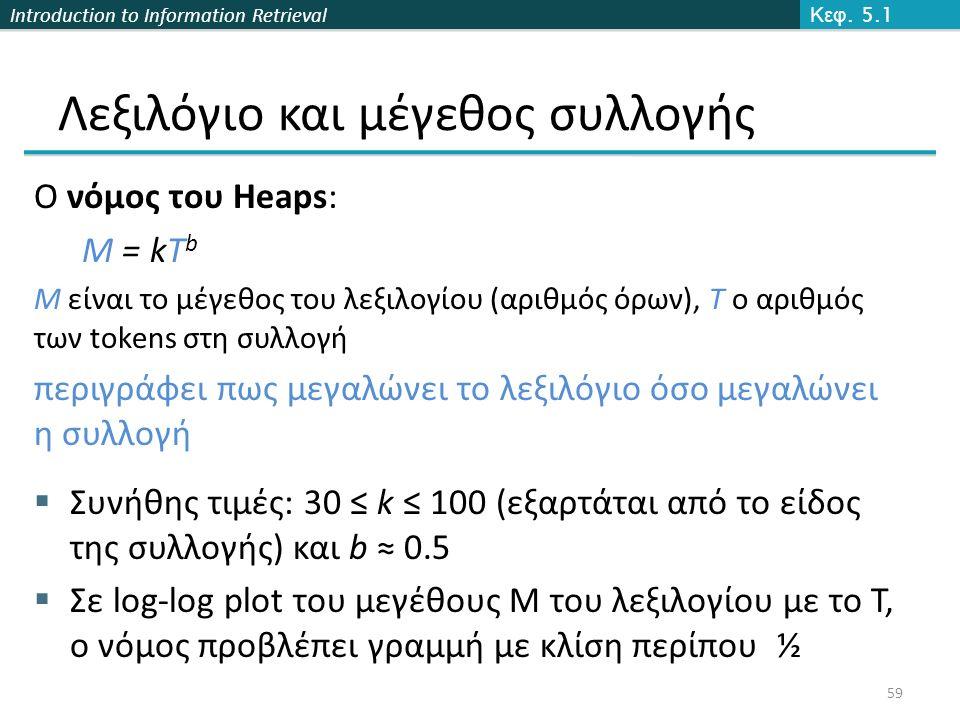 Introduction to Information Retrieval Ο νόμος του Heaps: M = kT b M είναι το μέγεθος του λεξιλογίου (αριθμός όρων), T ο αριθμός των tokens στη συλλογή περιγράφει πως μεγαλώνει το λεξιλόγιο όσο μεγαλώνει η συλλογή  Συνήθης τιμές: 30 ≤ k ≤ 100 (εξαρτάται από το είδος της συλλογής) και b ≈ 0.5  Σε log-log plot του μεγέθους Μ του λεξιλογίου με το Τ, ο νόμος προβλέπει γραμμή με κλίση περίπου ½ Κεφ.