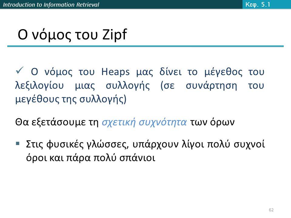 Introduction to Information Retrieval Ο νόμος του Zipf Ο νόμος του Heaps μας δίνει το μέγεθος του λεξιλογίου μιας συλλογής (σε συνάρτηση του μεγέθους της συλλογής) Θα εξετάσουμε τη σχετική συχνότητα των όρων  Στις φυσικές γλώσσες, υπάρχουν λίγοι πολύ συχνοί όροι και πάρα πολύ σπάνιοι Κεφ.