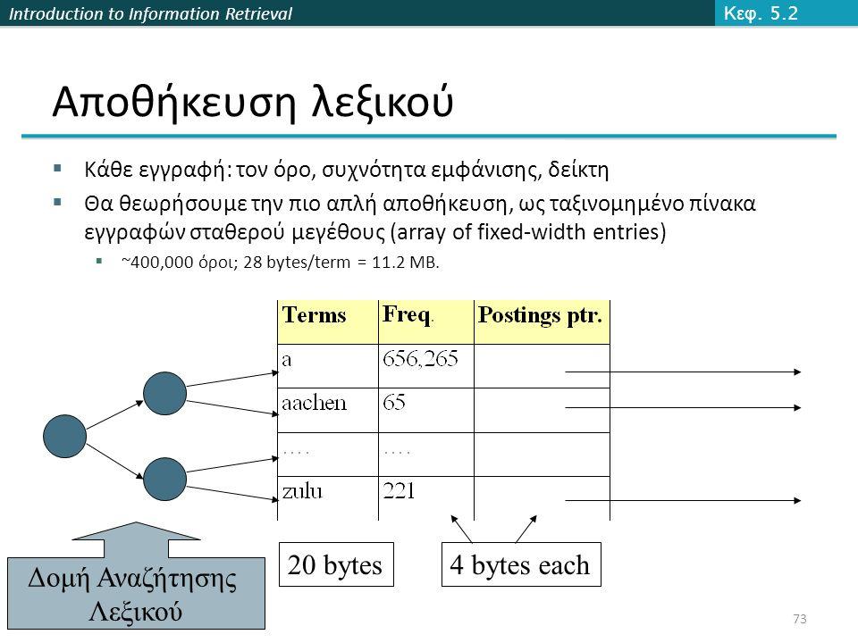 Introduction to Information Retrieval Αποθήκευση λεξικού  Κάθε εγγραφή: τον όρο, συχνότητα εμφάνισης, δείκτη  Θα θεωρήσουμε την πιο απλή αποθήκευση, ως ταξινομημένο πίνακα εγγραφών σταθερού μεγέθους (array of fixed-width entries)  ~400,000 όροι; 28 bytes/term = 11.2 MB.