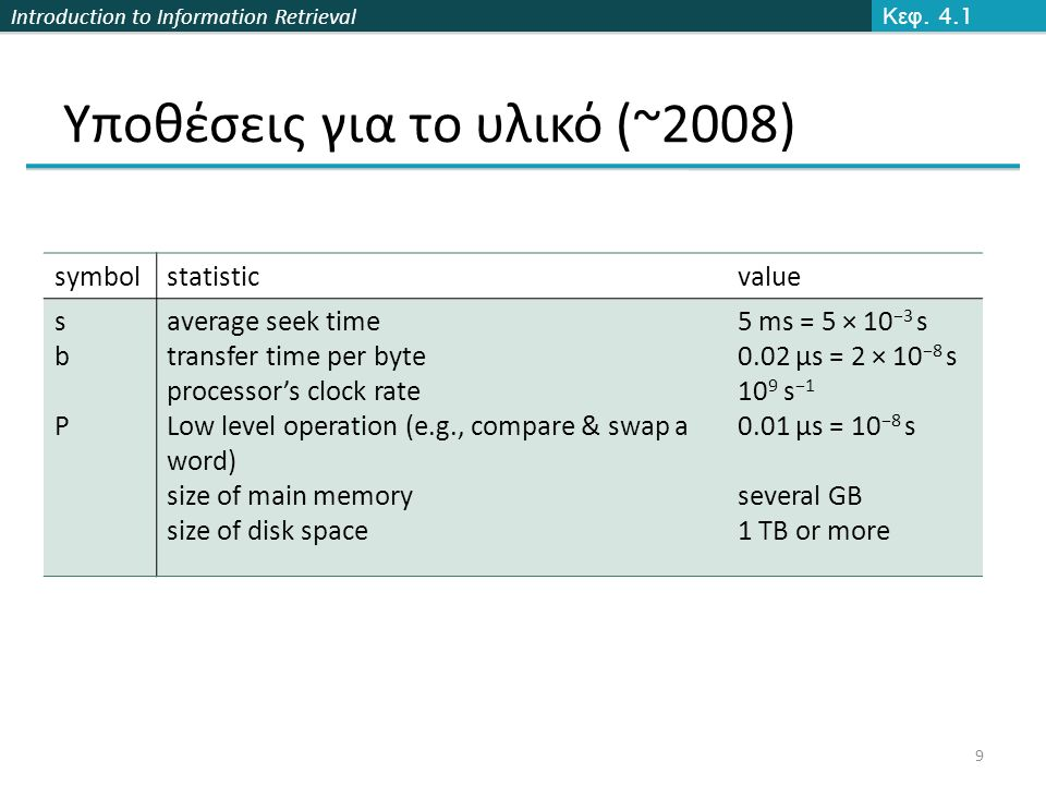 Introduction to Information Retrieval Υποθέσεις για το υλικό (~2008) Κεφ. 4.1 symbolstatisticvalue sbPsbP average seek time transfer time per byte pro