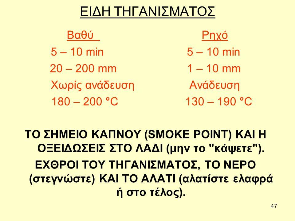 47 ΕΙΔΗ ΤΗΓΑΝΙΣΜΑΤΟΣ Βαθύ Ρηχό 5 – 10 min 20 – 200 mm 1 – 10 mm Χωρίς ανάδευση Ανάδευση 180 – 200 °C 130 – 190 °C ΤΟ ΣΗΜΕΙΟ ΚΑΠΝΟΥ (SMOKE POINT) ΚΑΙ Η