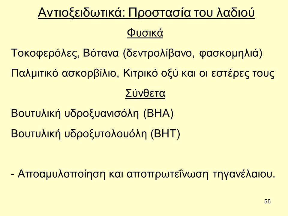 55 Αντιοξειδωτικά: Προστασία του λαδιού Φυσικά Τοκοφερόλες, Βότανα (δεντρολίβανο, φασκομηλιά) Παλμιτικό ασκορβίλιο, Κιτρικό οξύ και οι εστέρες τους Σύνθετα Βουτυλική υδροξυανισόλη (BHA) Βουτυλική υδροξυτολουόλη (BHT) - Αποαμυλοποίηση και αποπρωτεΐνωση τηγανέλαιου.