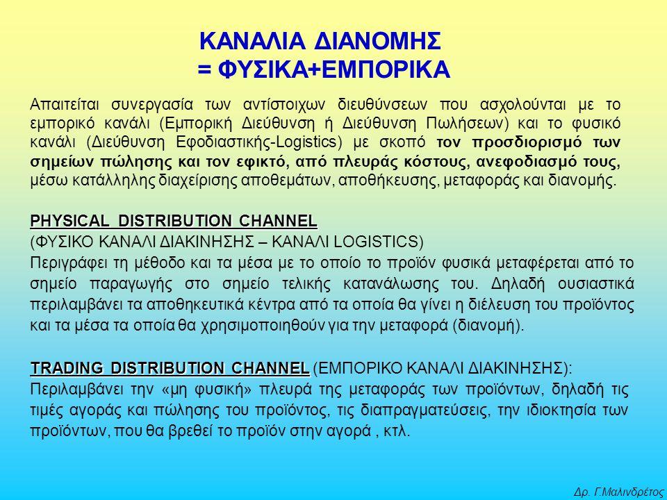 Δρ. Γ.Μαλινδρέτος PHYSICAL DISTRIBUTION CHANNEL (ΦΥΣΙΚΟ ΚΑΝΑΛΙ ΔΙΑΚΙΝΗΣΗΣ – KANAΛΙ LOGISTICS) Περιγράφει τη μέθοδο και τα μέσα με το οποίο το προϊόν