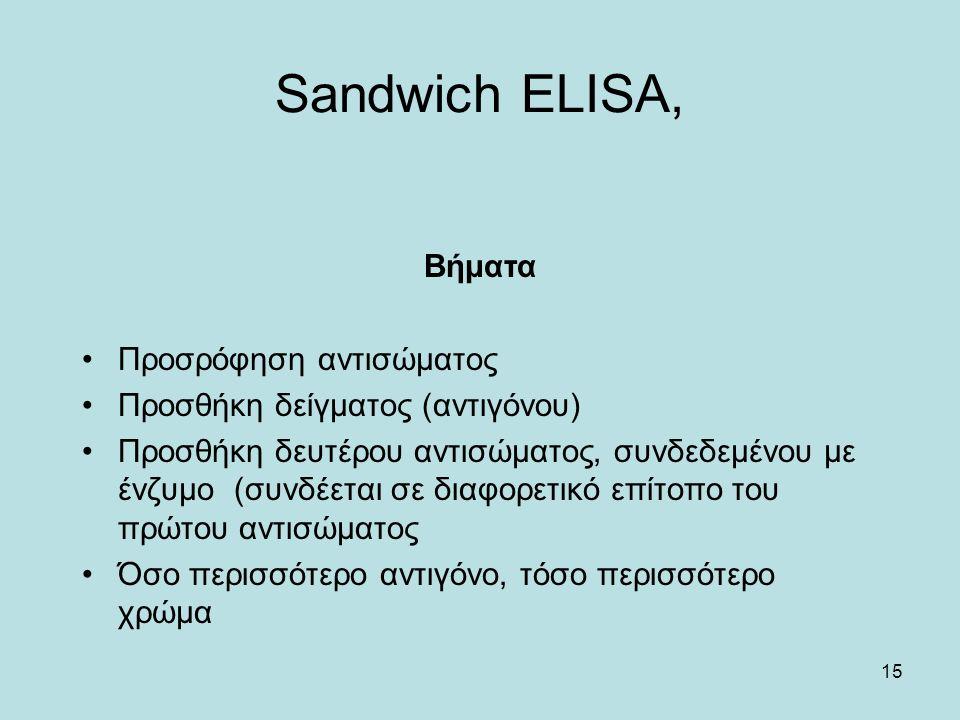15 Sandwich ELISA, Βήματα Προσρόφηση αντισώματος Προσθήκη δείγματος (αντιγόνου) Προσθήκη δευτέρου αντισώματος, συνδεδεμένου με ένζυμο (συνδέεται σε διαφορετικό επίτοπο του πρώτου αντισώματος Όσο περισσότερο αντιγόνο, τόσο περισσότερο χρώμα