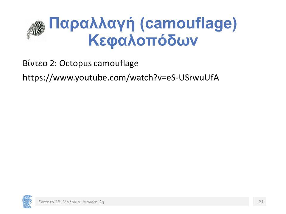 Παραλλαγή (camouflage) Κεφαλοπόδων Βίντεο 2: Octopus camouflage https://www.youtube.com/watch v=eS-USrwuUfA Ενότητα 13: Μαλάκια.