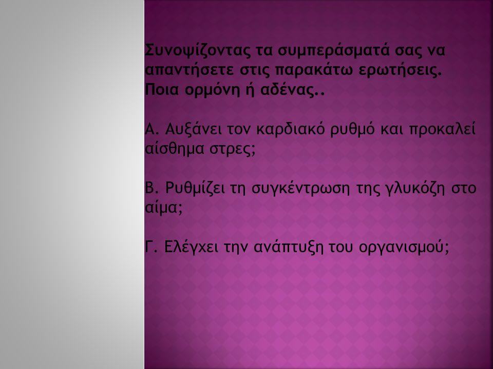 Συνοψίζοντας τα συμπεράσματά σας να απαντήσετε στις παρακάτω ερωτήσεις.