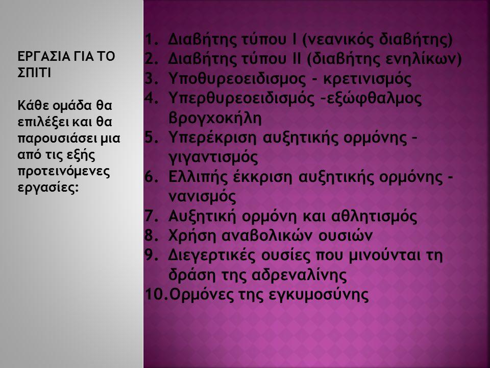 1.Διαβήτης τύπου Ι (νεανικός διαβήτης) 2.Διαβήτης τύπου ΙΙ (διαβήτης ενηλίκων) 3.Υποθυρεοειδισμος - κρετινισμός 4.Υπερθυρεοειδισμός –εξώφθαλμος βρογχοκήλη 5.Υπερέκριση αυξητικής ορμόνης – γιγαντισμός 6.Ελλιπής έκκριση αυξητικής ορμόνης - νανισμός 7.Αυξητική ορμόνη και αθλητισμός 8.Χρήση αναβολικών ουσιών 9.Διεγερτικές ουσίες που μινούνται τη δράση της αδρεναλίνης 10.Ορμόνες της εγκυμοσύνης ΕΡΓΑΣΙΑ ΓΙΑ ΤΟ ΣΠΙΤΙ Κάθε ομάδα θα επιλέξει και θα παρουσιάσει μια από τις εξής προτεινόμενες εργασίες: