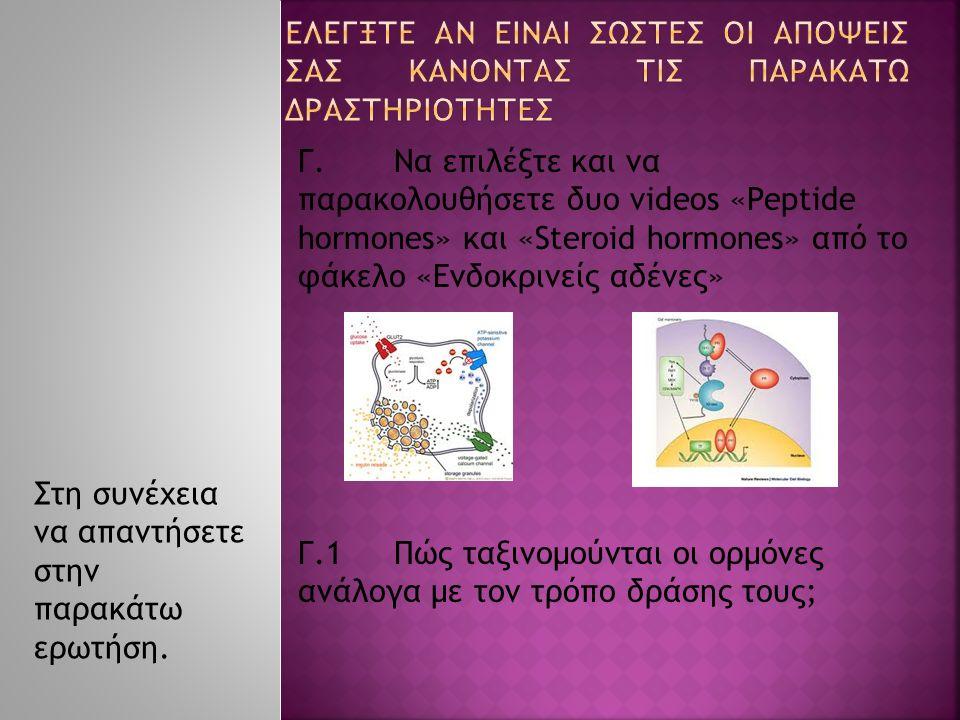 Γ.Να επιλέξτε και να παρακολουθήσετε δυο videos «Peptide hormones» και «Steroid hormones» από το φάκελο «Ενδοκρινείς αδένες» Γ.1Πώς ταξινομούνται οι ορμόνες ανάλογα με τον τρόπο δράσης τους; Στη συνέχεια να απαντήσετε στην παρακάτω ερωτήση.