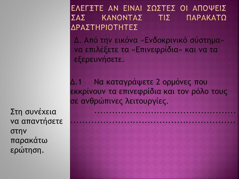 Δ. Από την εικόνα «Ενδοκρινικό σύστημα» να επιλέξετε τα «Επινεφρίδια» και να τα εξερευνήσετε. Δ.1Να καταγράψετε 2 ορμόνες που εκκρίνουν τα επινεφρίδια