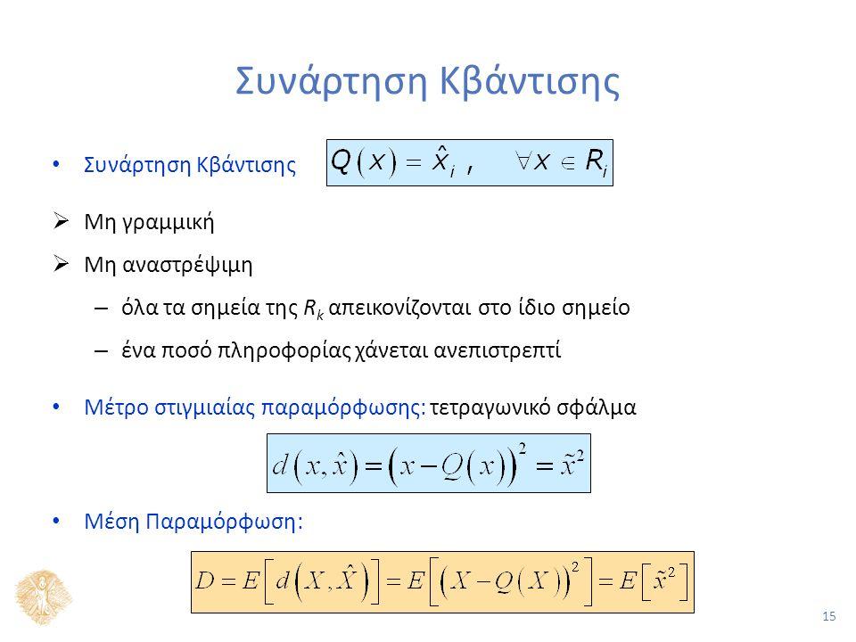 15 Συνάρτηση Κβάντισης  Μη γραμμική  Μη αναστρέψιμη – όλα τα σημεία της R k απεικονίζονται στο ίδιο σημείο – ένα ποσό πληροφορίας χάνεται ανεπιστρεπτί Μέτρο στιγμιαίας παραμόρφωσης: τετραγωνικό σφάλμα Μέση Παραμόρφωση: