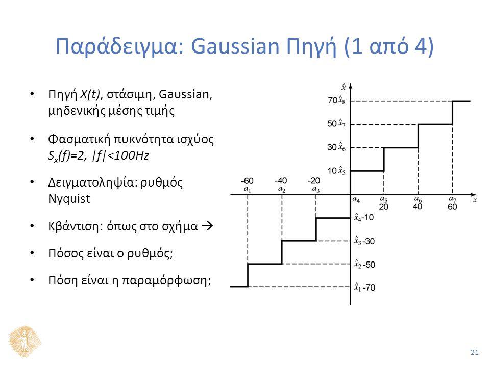 21 Παράδειγμα: Gaussian Πηγή (1 από 4) Πηγή X(t), στάσιμη, Gaussian, μηδενικής μέσης τιμής Φασματική πυκνότητα ισχύος S x (f)=2, |f|<100Hz Δειγματοληψία: ρυθμός Nyquist Κβάντιση: όπως στο σχήμα  Πόσος είναι ο ρυθμός; Πόση είναι η παραμόρφωση;