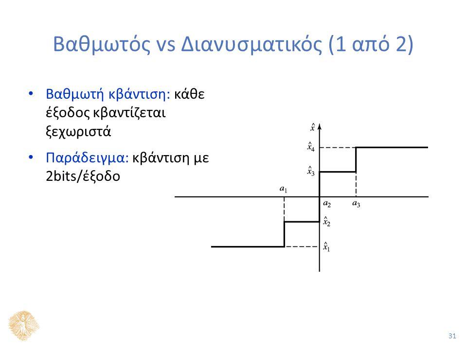 31 Βαθμωτός vs Διανυσματικός (1 από 2) Βαθμωτή κβάντιση: κάθε έξοδος κβαντίζεται ξεχωριστά Παράδειγμα: κβάντιση με 2bits/έξοδο