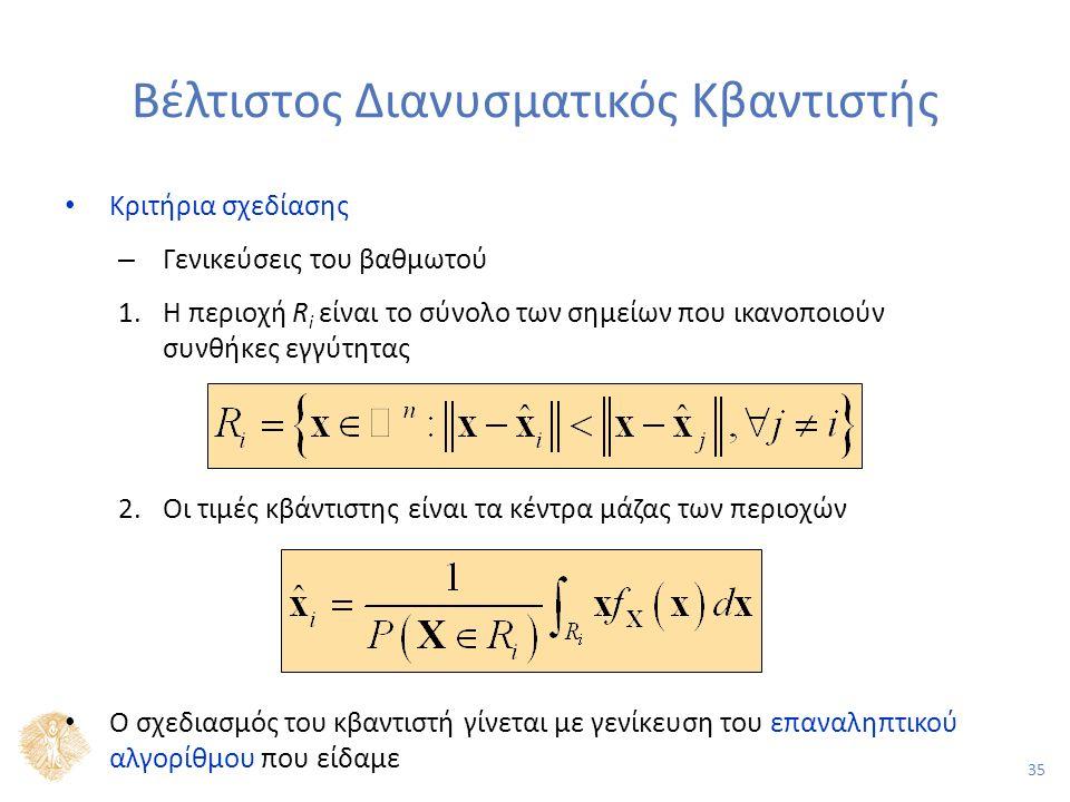 35 Βέλτιστος Διανυσματικός Κβαντιστής Κριτήρια σχεδίασης – Γενικεύσεις του βαθμωτού 1.Η περιοχή R i είναι το σύνολο των σημείων που ικανοποιούν συνθήκες εγγύτητας 2.Οι τιμές κβάντιστης είναι τα κέντρα μάζας των περιοχών Ο σχεδιασμός του κβαντιστή γίνεται με γενίκευση του επαναληπτικού αλγορίθμου που είδαμε